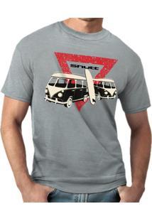 Camiseta Shutt Kombi Surf Casual Cinza Estampa Preta Vermelha E Branca