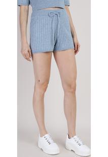 Short De Tricô Feminino Mindset Hot Pant Cintura Com Elástico Super Alta Canelado Azul Claro