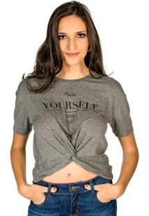 Camiseta Yourself Colcci - Feminino-Cinza
