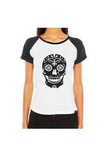 Camiseta Raglan Criativa Urbana Caveira Mexicana Florida Flores No Queixo Tribal Tattoo