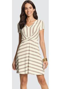 Vestido Malha Falaise Stripe Branco