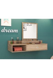 Penteadeira Suspensa Com Espelho Jasmim Nogal/Vanilla – Lc Móveis