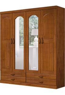 Guarda-Roupa Casal Com Espelho Parma 4 Pt 4 Gv Imbuia