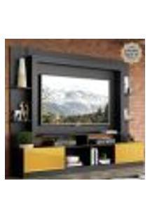"""Rack Estante Com Painel E Suporte Tv 65"""" E 2 Portas Oslo Multimóveis Preto/Amarelo"""