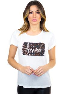 T-Shirt Cavallari Aplique Dreamer Off White