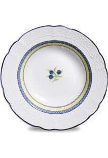 Conjunto De Pratos Fundo Vanna Adriático Porcelana 6 Peças Branco, Amarelo E Azul Verbano