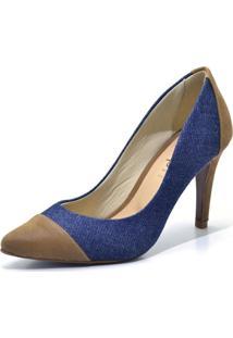 Sapato Scarpin Salto Alto Fino Em Tecido Jeans Azul E Nobucado Marrom - Kanui