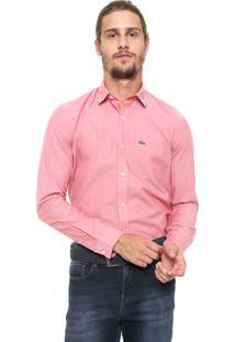 Camisa Lacoste Slim Com Bolso Rosa
