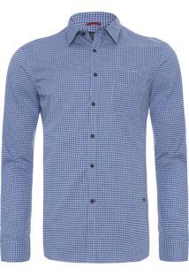 Camisa Masculina Traveller Ny Xadrez - Azul