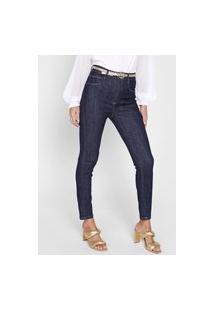 Calça Jeans Lança Perfume Skinny Pespontos Azul-Marinho