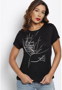 Camiseta Com Inscriã§Ãµes- Preta & Branca- Forumforum