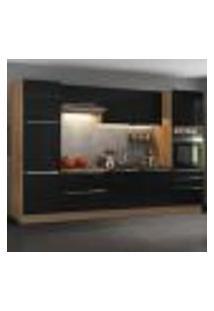 Cozinha Completa Madesa Lux Com Armário E Balcão 9 Portas 5 Gavetas - Rustic/Preto