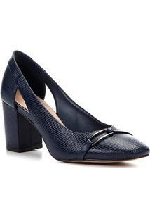 Scarpin Shoestock Salto Bloco Lezard Metal - Feminino-Marinho