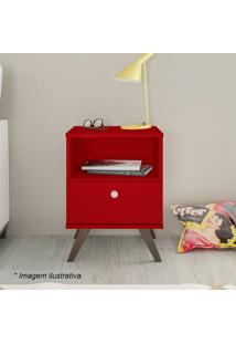 Criado Mudo Com Gaveta- Vermelho & Marrom- 58X40X38Cmovel Bento