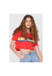 Camiseta Cropped 2Nd Floor Cocopalm Vermelha