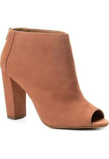 Sandália Couro Shoestock Nobuck Salto Grosso Feminina - Feminino-Nude