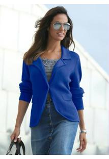 09f37a79a8 ... Blazer De Tricô Canelado Azul