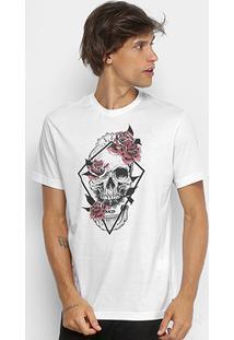 Camiseta Mcd Regular Skull Flower Masculina - Masculino-Branco