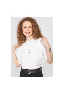 Camiseta Cropped Colcci Pespontos Branca