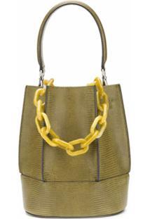 Loeuvre Bolsa Bucket De Couro Com Textura - Verde