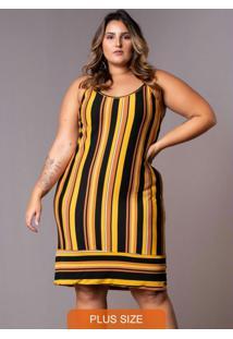 Vestido Tricolor Barrado Plus Size Amarelo