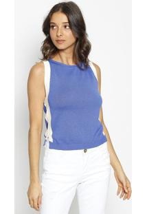Blusa Cropped Em Tricã´ - Azul & Off White - Maria Vamaria Valentina