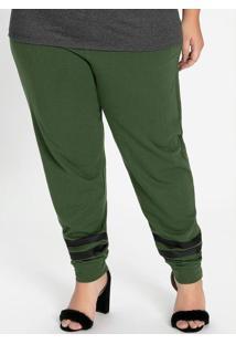 Calça Verde Militar Com Listras Plus Size