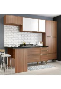 Cozinha Completa Multimóveis Com 5 Peças Calábria 5454 Nogueira/Branco
