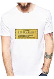Camiseta Coolest Golden Ticket Masculina - Masculino-Branco