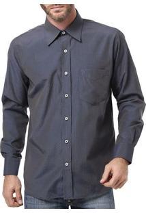 Camisa Manga Longa Masculina Di Marcus Azul Marinho