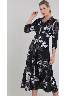 Vestido Chemise Feminino Midi Estampado Floral Manga 3/4 Preto