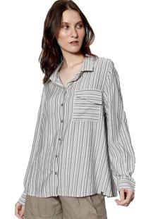 Camisa Manga Longa Energia Fashion Preto Branco