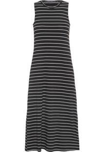 Vestido Listrado Midi Shoulder - Preto