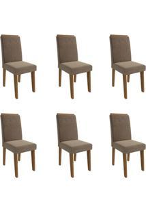 Conjunto Com 6 Cadeiras De Jantar Taís I Suede Savana E Pluma
