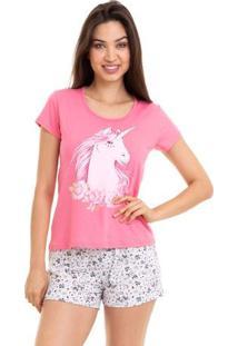 Pijama Short Doll Verão Unicórnio Feminino Com Algodão Luna Cuore