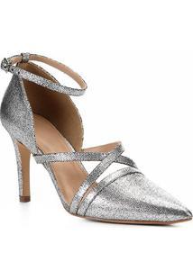 Scarpin Shoestock Metailzado Salto Alto Tiras - Feminino-Prata