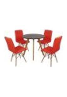 Mesa Laura 80Cm Preta + 4 Cadeiras Eiffel Gomos - Vermelha