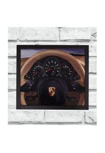 Quadro Decorativo Metal Volante Porsche Bege Cor Preto 40X50
