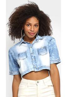 Blusa Jeans Pink Cropped Estonada Feminina - Feminino-Azul