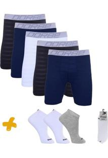 Kit Cuecas Long Leg New Skin + Pares De Meia Sport Dorbe - Masculino-Branco+Cinza