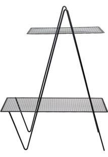Prateleira Dupla Triângulo- Preta- 107X80X26Cm- Decor Glass