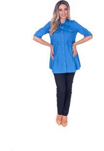Camisa Manga Curta Bebê A Bordo Gestante 2 Azul