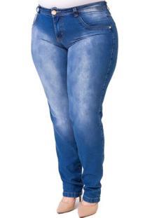 Calça Confidencial Extra Plus Size Jeans Feminina - Feminino-Azul