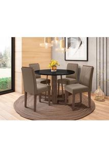 Conjunto De Mesa De Jantar Com Tampo De Vidro Isabela E 4 Cadeiras Amanda Veludo Preto E Marrom