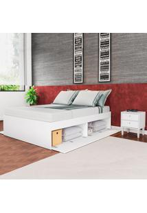 Quarto Casal Cama Tókio Com Criados Mudos Branco - Art In Móveis