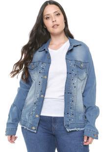 Jaqueta Jeans Plus Size Da Vgi Azul