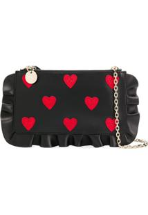 Red Valentino Red(V) Rock Ruffles Clutch - Preto