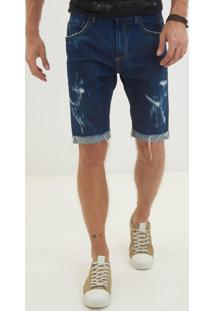Bermuda John John Classica Sanibel 3D Jeans Azul Masculina (Jeans Escuro, 48)