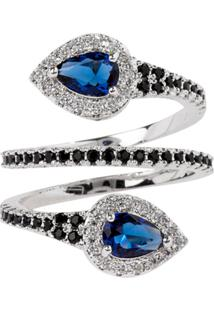 Anel Snake The Ring Boutique Pedra Cristal Azul Safira Ródio Ouro Branco