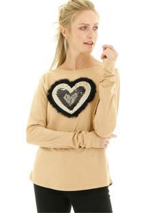 Blusa Malha Lisa Com Aplicação De Coração Frontal Aha